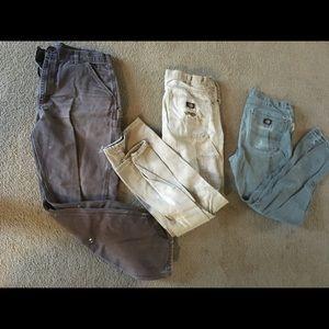 Lot of 3 34/34 men's carhartt dickies work pants